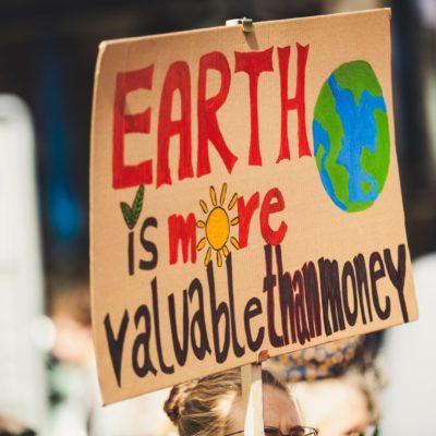 Skilt til klimademonstration